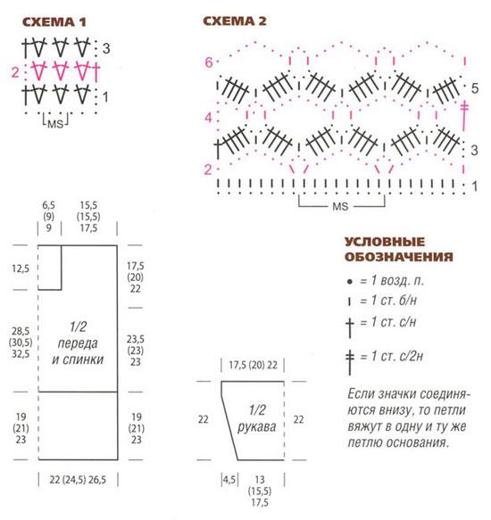 схема вязания кофточки крючком