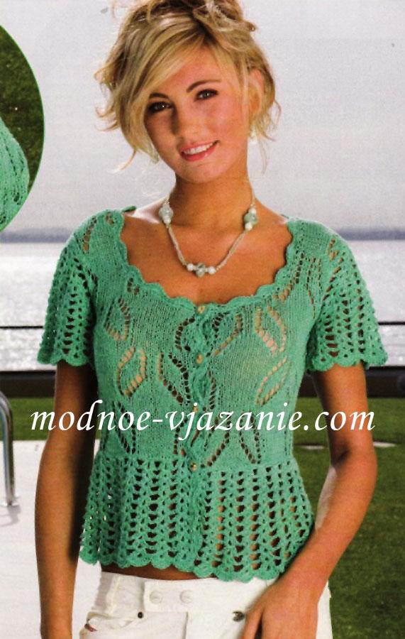 Вязание спицами ажурная блузка