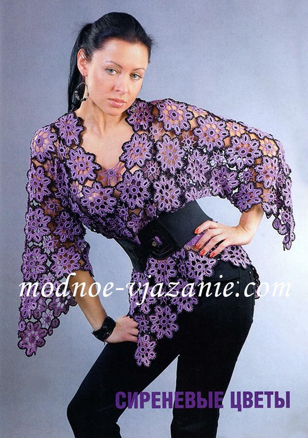 Пуловер из цветочных мотивов