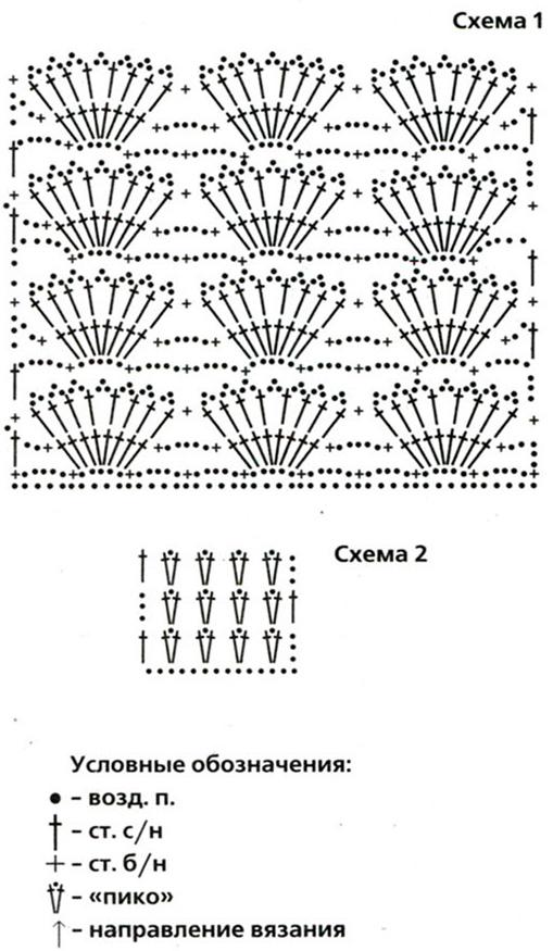 Вязание кофты узором ракушка