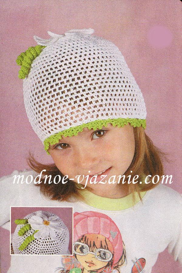 Вязание детских летних шапочек крючком фото