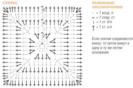 плотный квадрат крючком схема Пройди этот