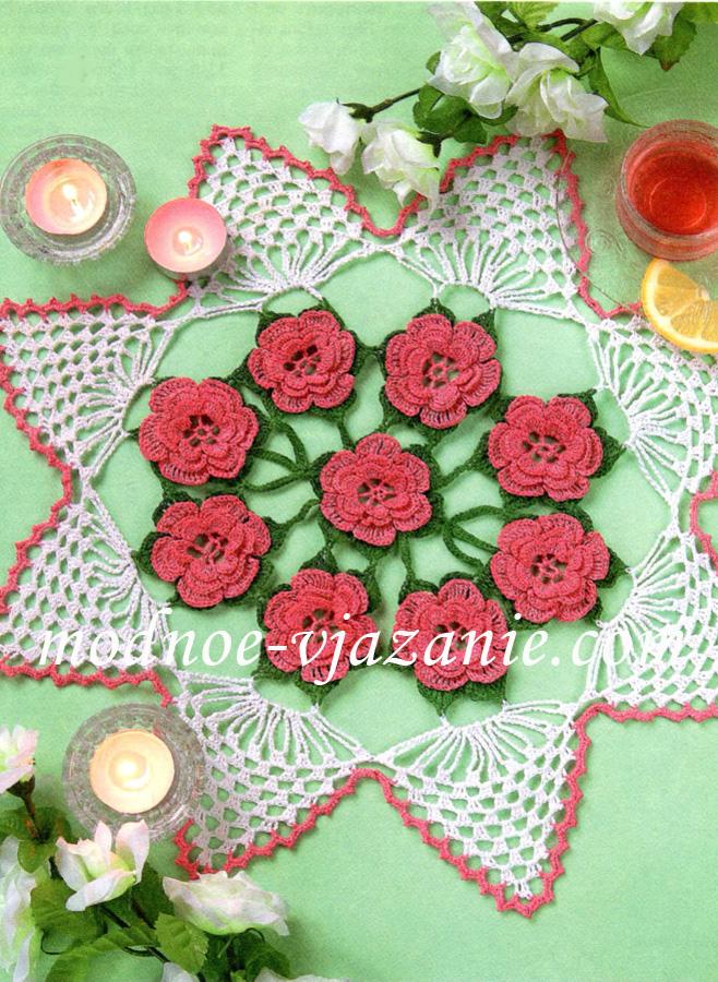 Цветная салфетка с розами