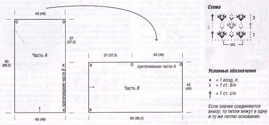 Вязание пончо из двух прямоугольников 85