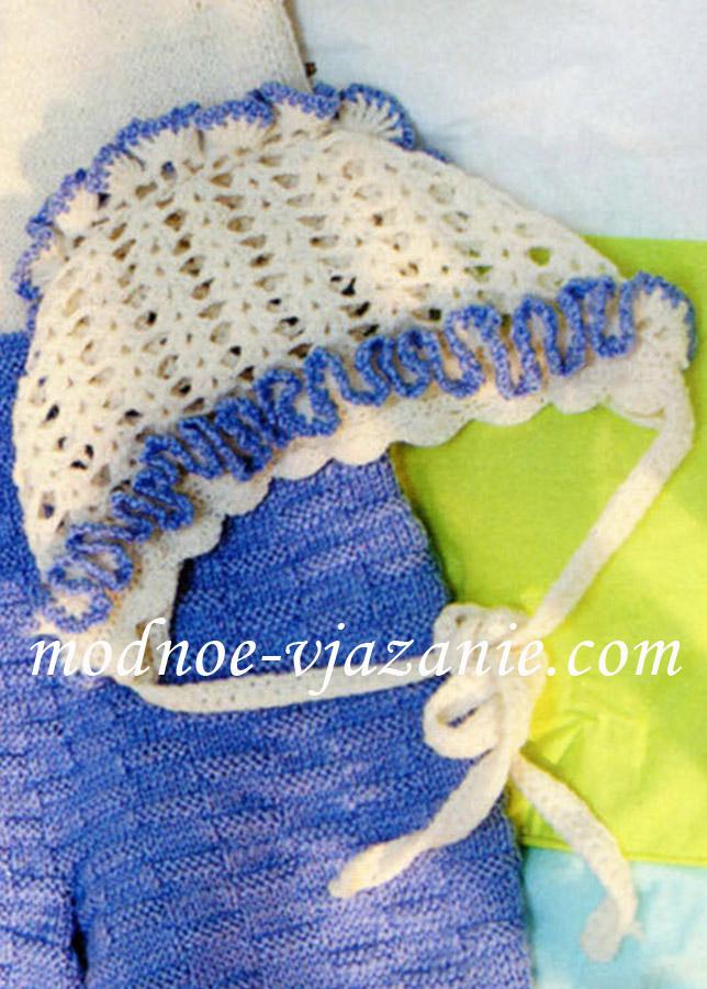 Чепчик крючком со схемой для новорожденных