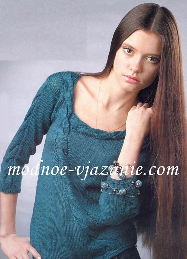 Пуловер с косой