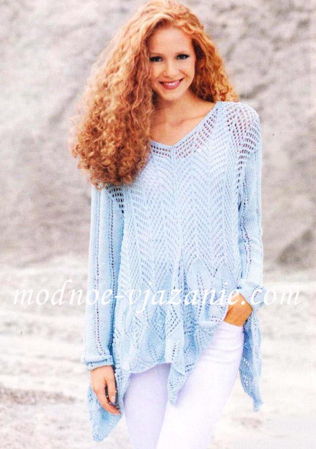 асимметричный пуловер спицами<br />