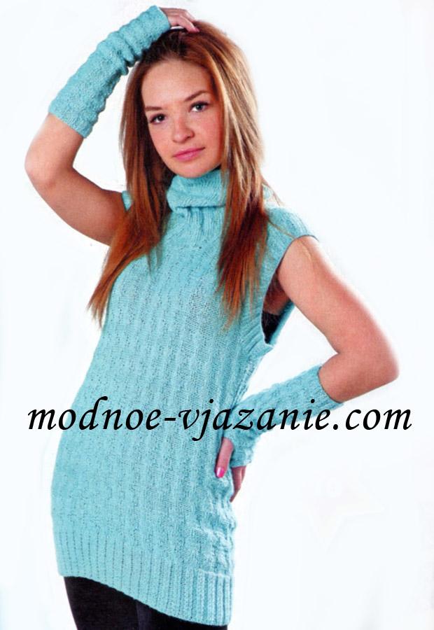 Описание: вязаные спицами теплые платья туники.