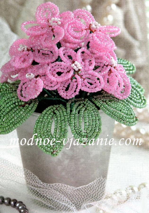 Бисероплетение цветы фиалки - Делаем фенечки своими руками.