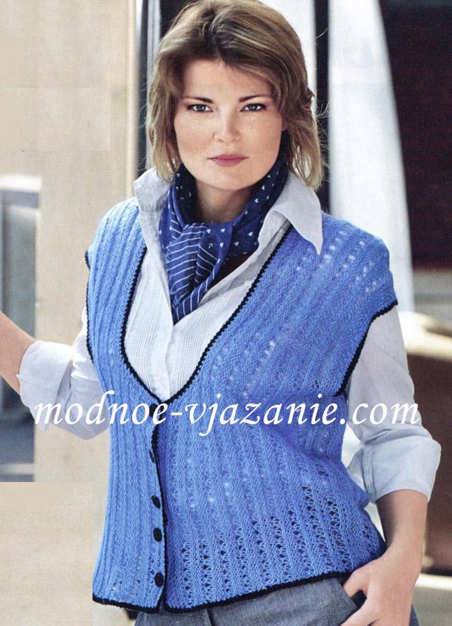 Вязание спицами для женщин. Жилет