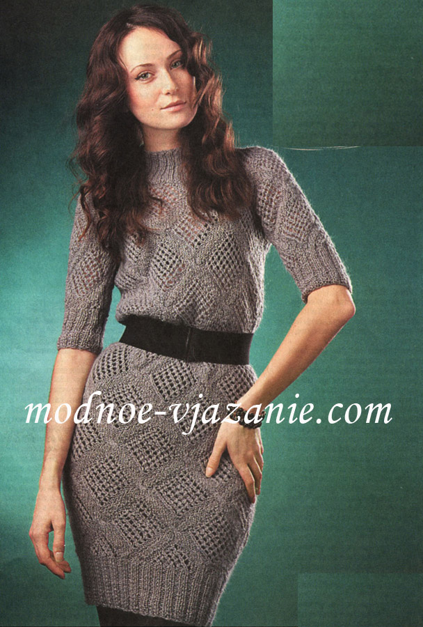 Вязаное Платье С Ромбами 96