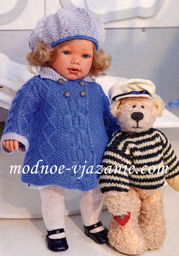 Пальто и берет для куклы