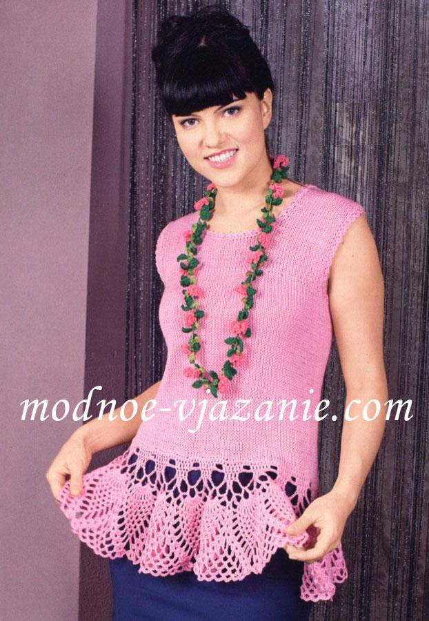 Розовая майка с ажурной каймой