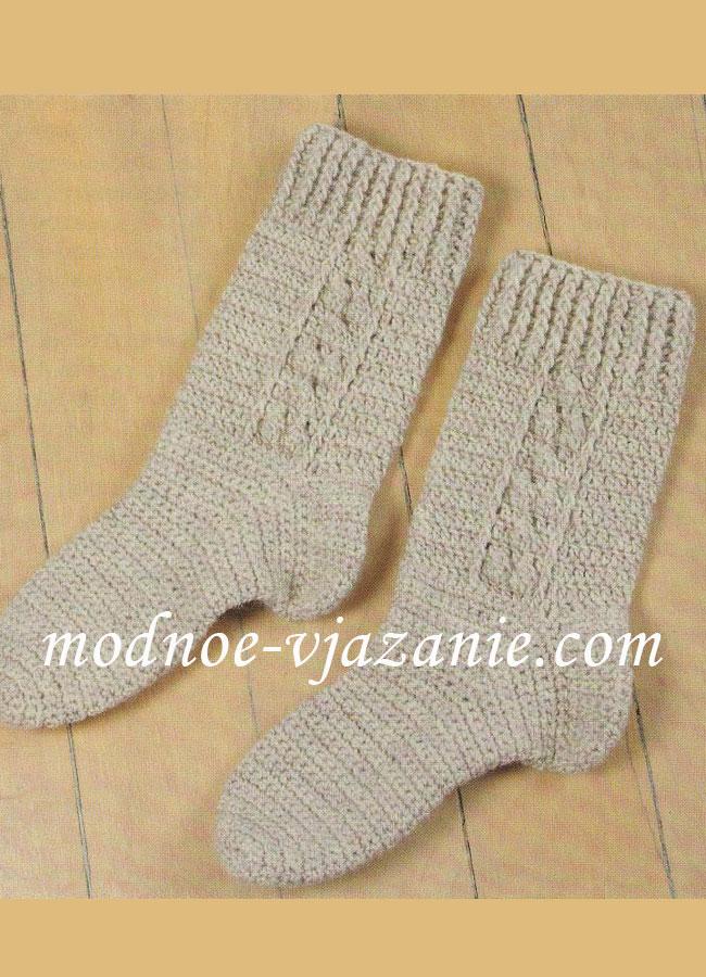крючком, Вязание спицами: носочки
