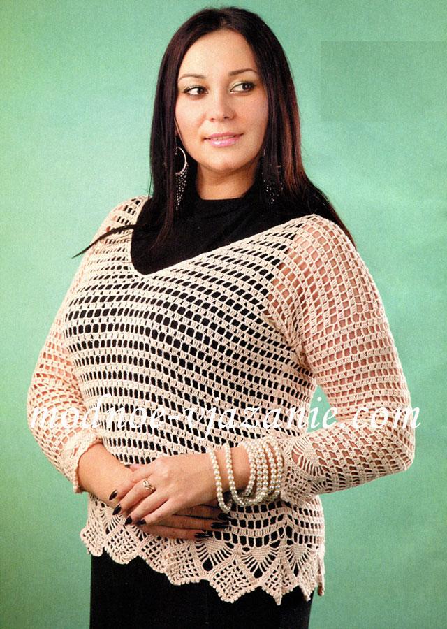 Ажурный пуловер для полных дам