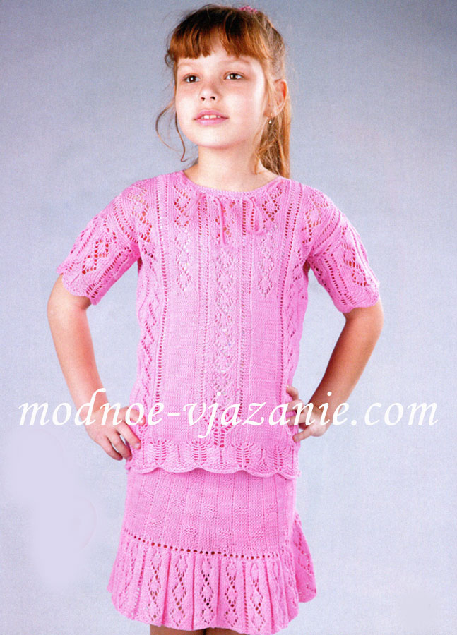 Вязание спицами для девочек. Костюм