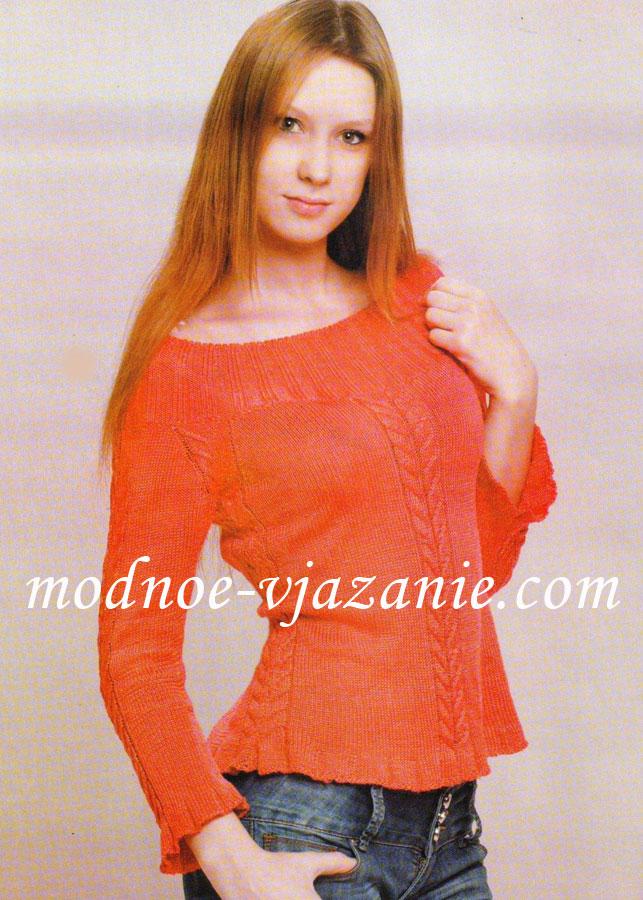 Пуловер с ажурной вставкой с доставкой