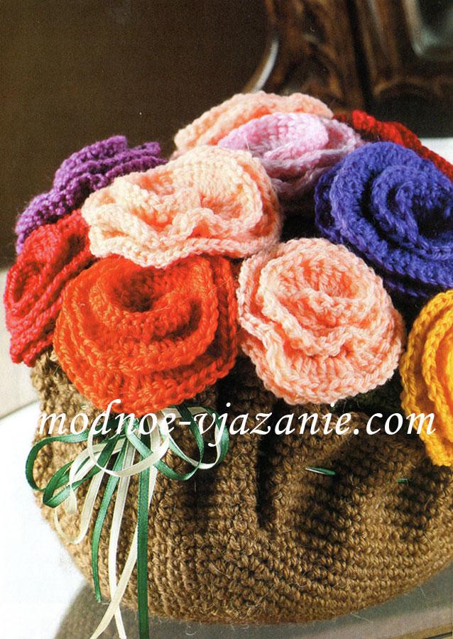 Корзинка с розами (вязание крючком) .