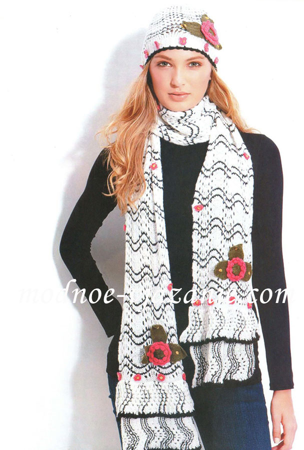 Шапка и шарф волнистым узором