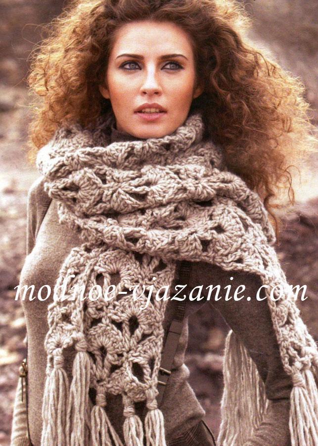 Длинный шарф из толстой пряжи