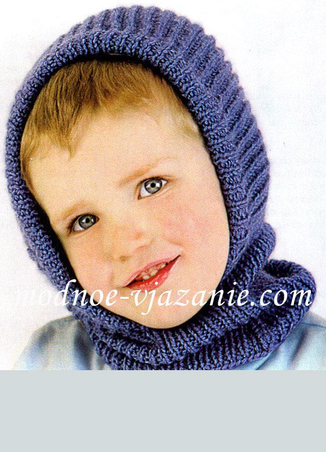 Детская шапочка-шлем спицами