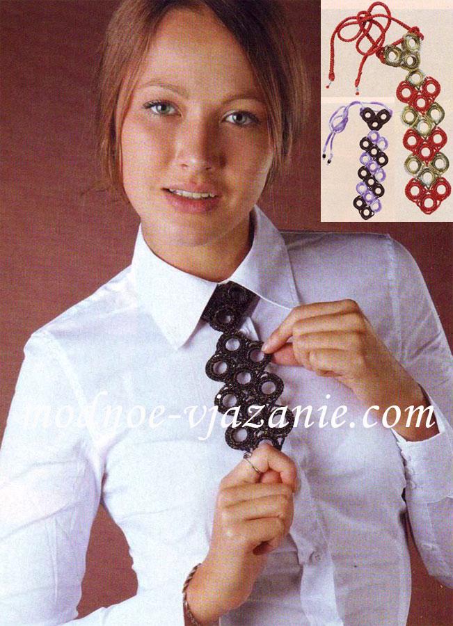 Вязаный галстук крючком