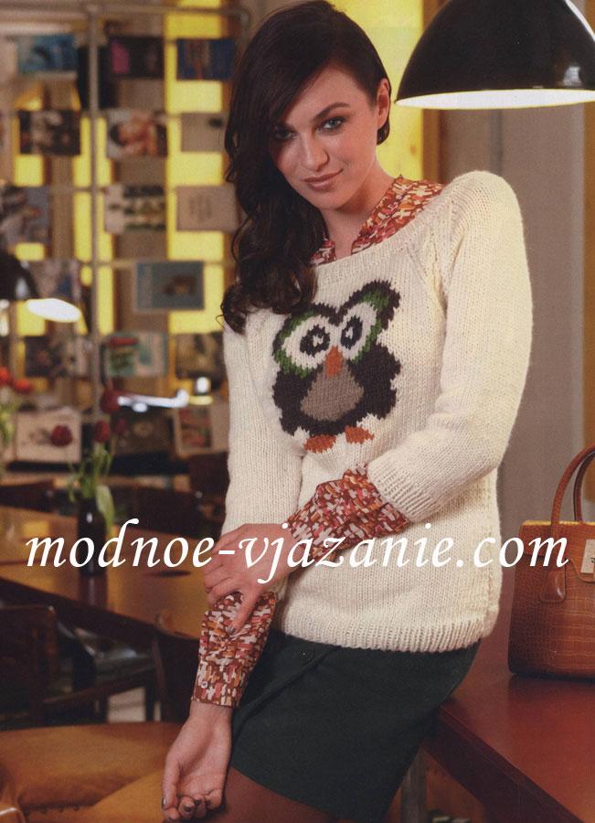 """Пуловер с рисунком """"сова"""""""