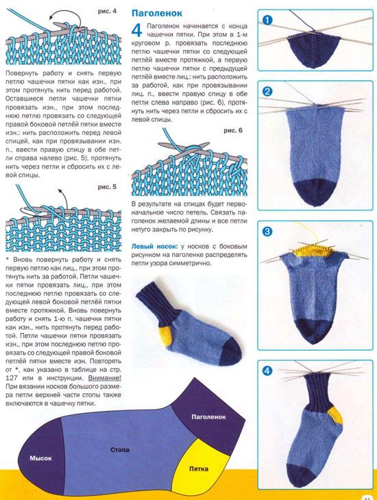 Как вязать носок носка на спицах видео
