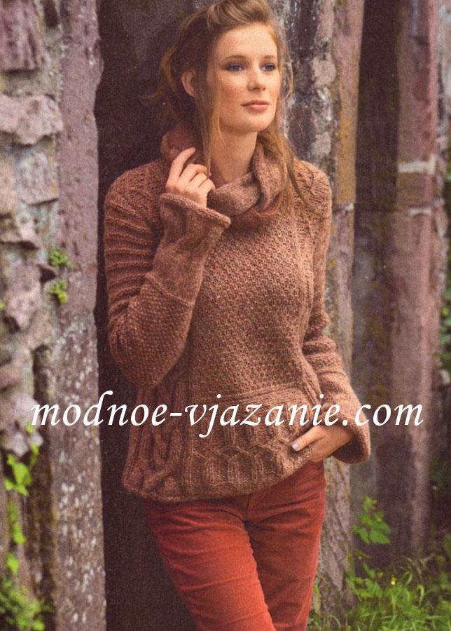 Пуловер с ирландским узором