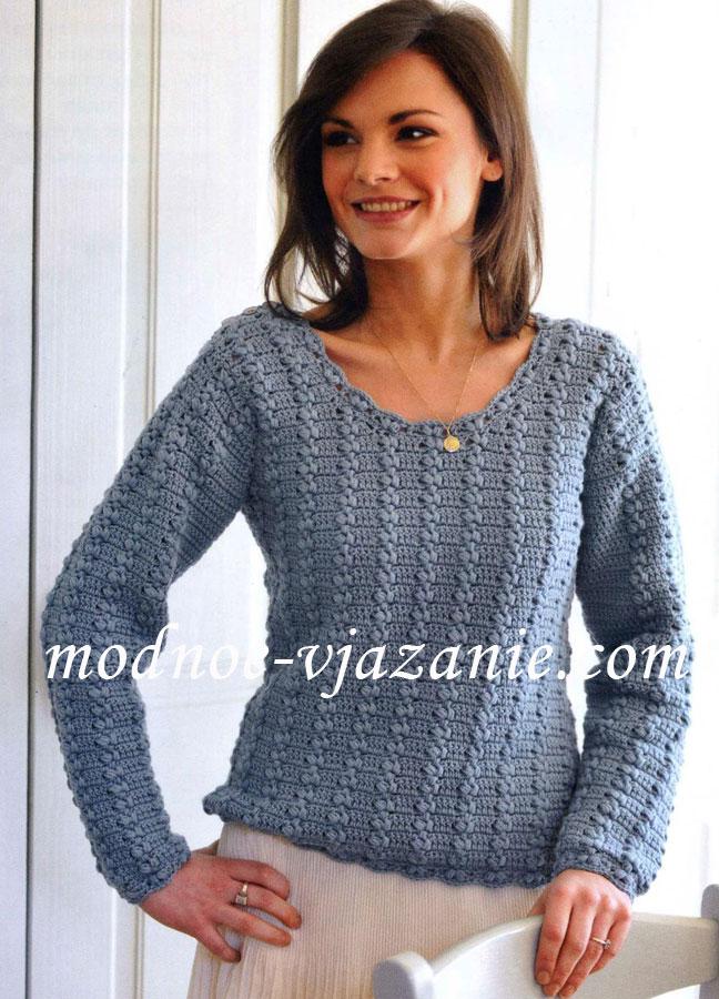 пуловер с застежкой на плече