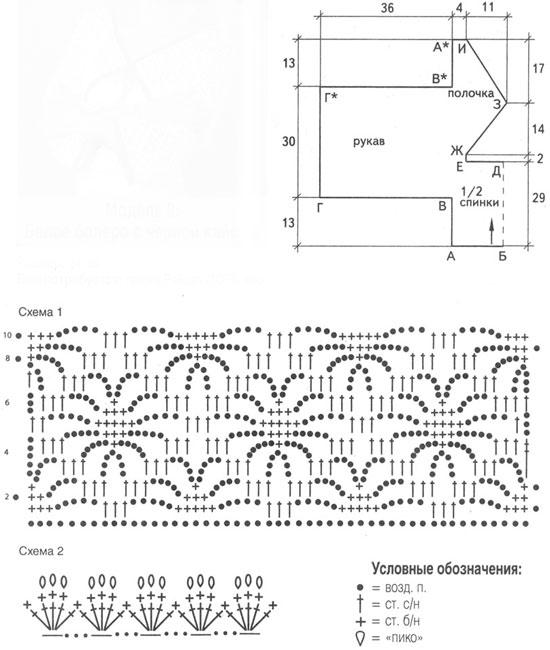 Схема вязания белое болеро