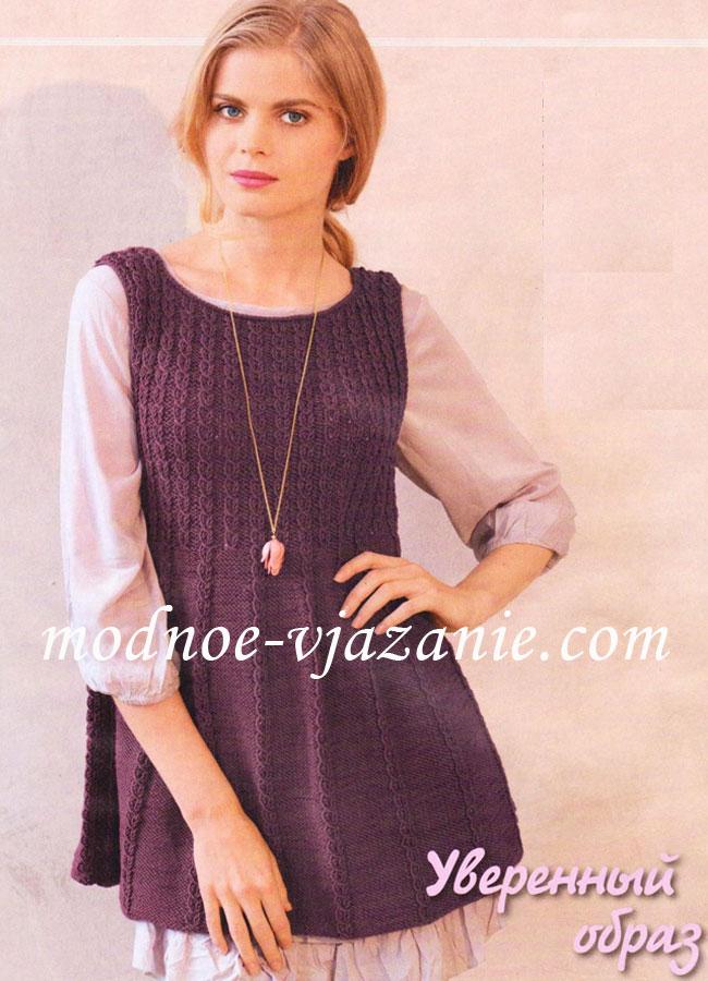 Платья туники юбки вязаные спицами