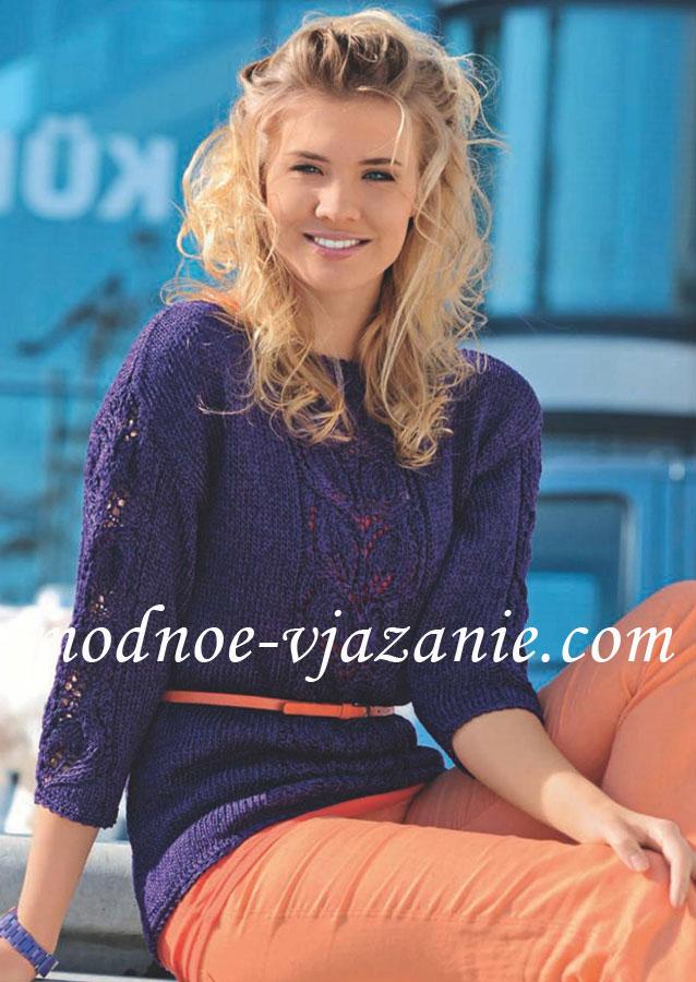 Фиолетовый пуловер с листьями