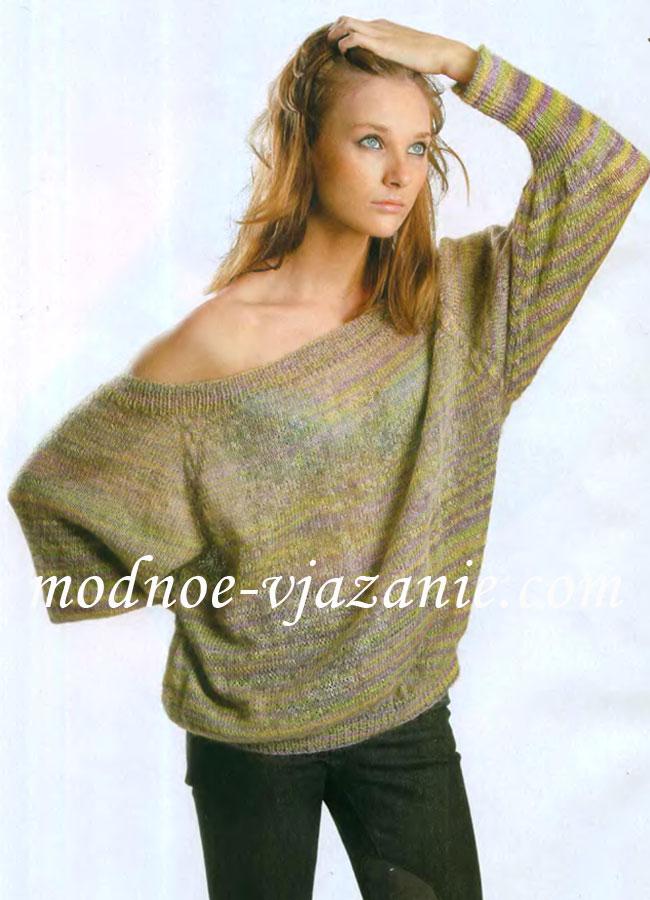 Вязание спицами объемного женского свитера