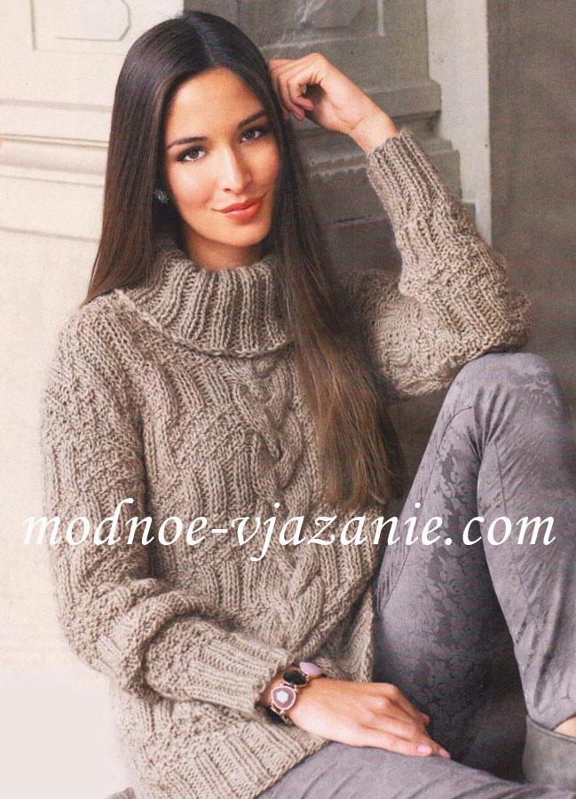 Вязание спицами узорчатый пуловер