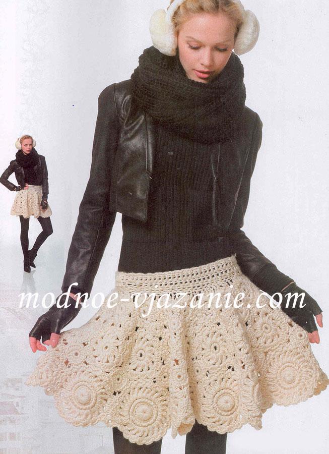 Вязаная расклешенная юбка крючком