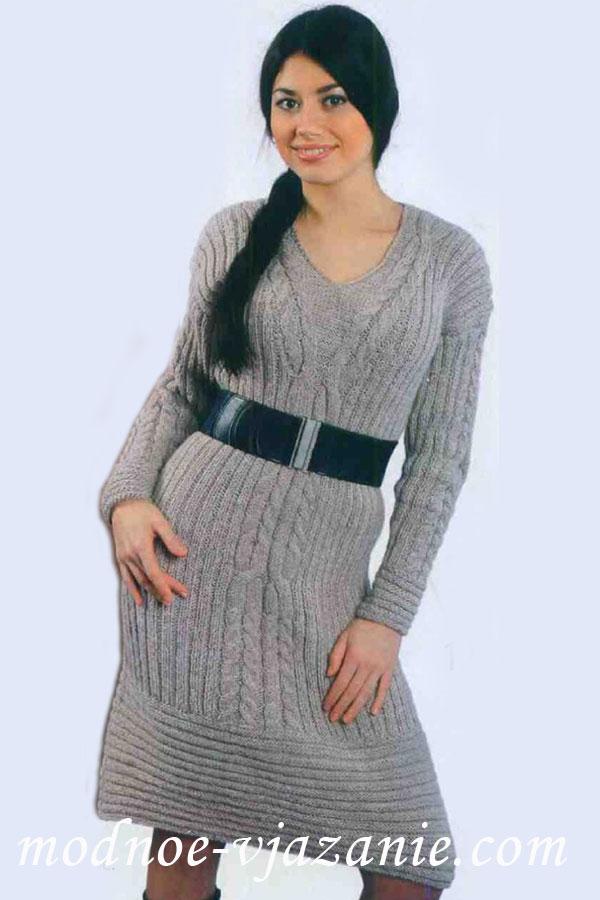 Платья, туники, юбки вязаные спицами