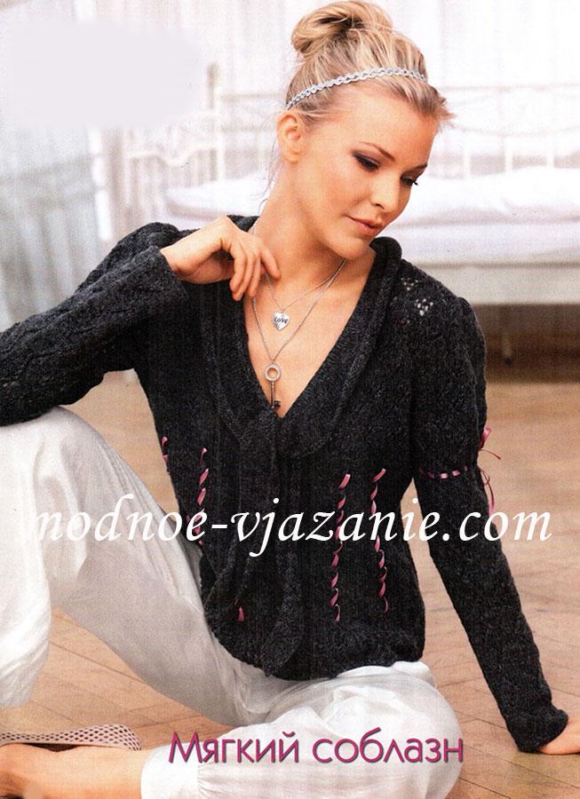 Пуловер с рукавами фонариками