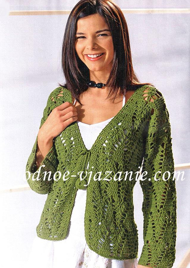 Зеленый ажурный жакет
