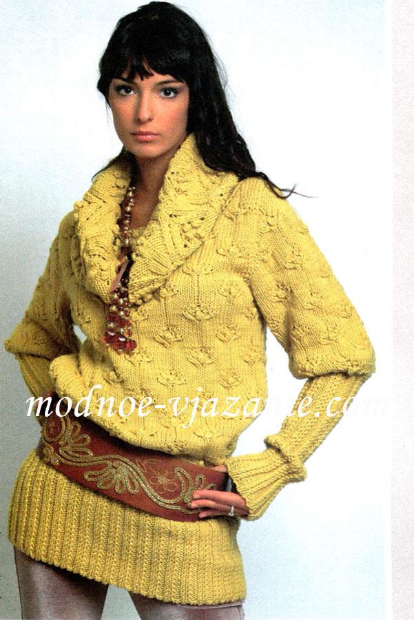 Вязание свитер с воротника 1