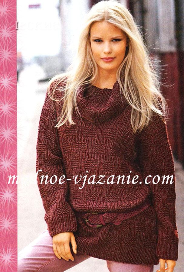 Свободный пуловер с воротником