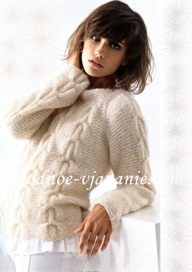 Вязание спицами свитеров с узором из кос
