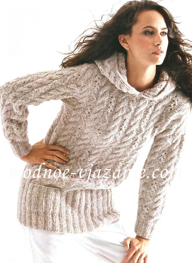 Пуловер из кос с капюшоном