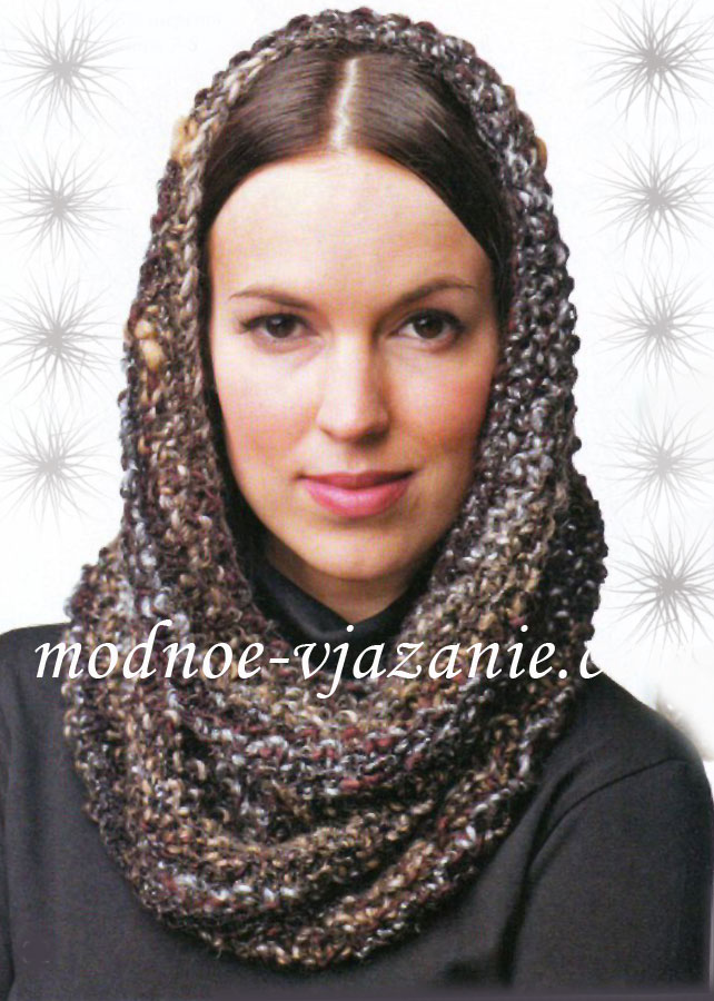 Описание: шарф-труба схема вязания спицами.