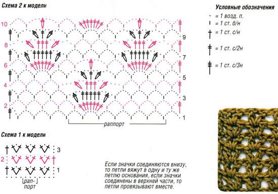 Узор арочки крючком схема