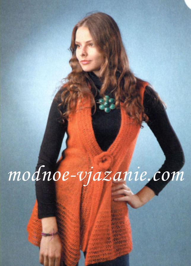 жилеты женские вязание вязание спицами вязание крючком