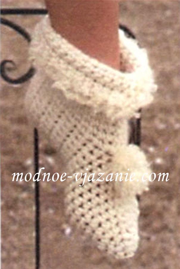 Носки-тапочки вязаные крючком