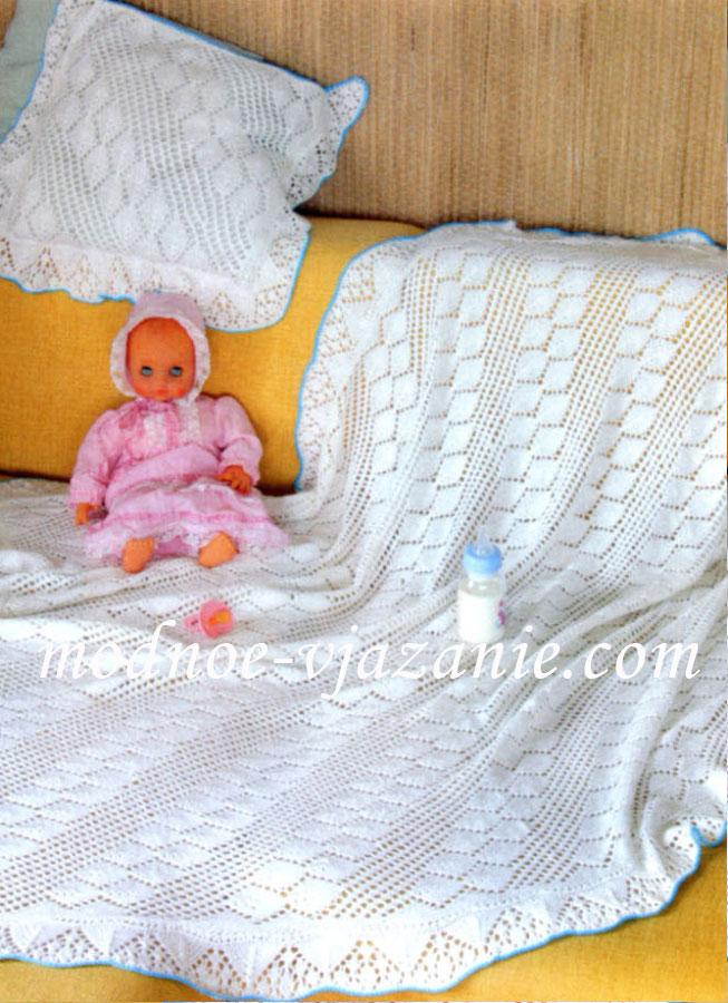 Одеяльце для новорожденного своими руками спицами 1
