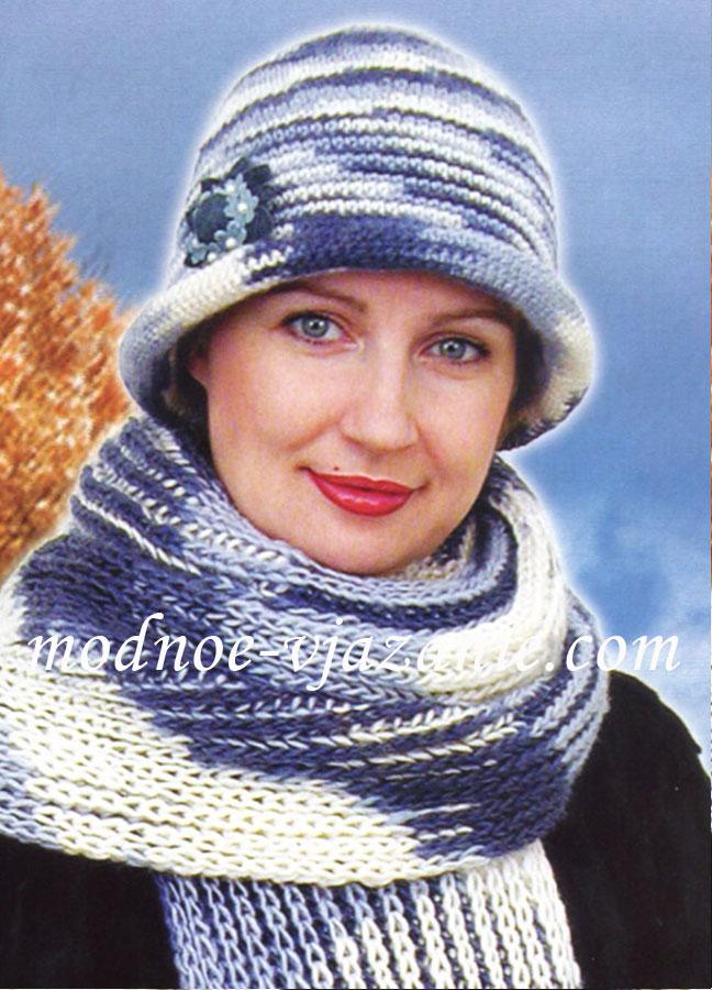 Меланжевая женская шляпка