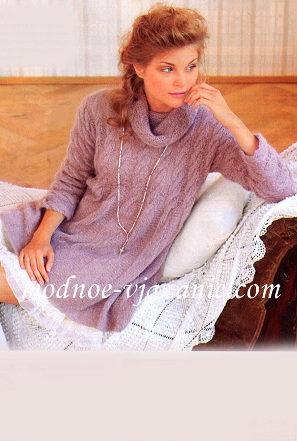 Расклешенное платье из мохера